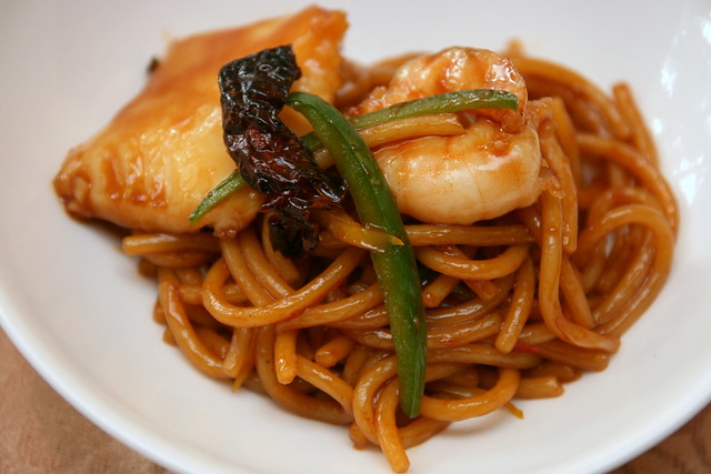 Stir Fried Italian Noodles with Seafood - Kong Po Style