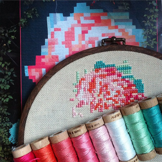 The progress made on my #pixelrose #cross-stitch #hoop. Hopefully it will be finished soon☺️ #aurifil #floss #embroidery #craft