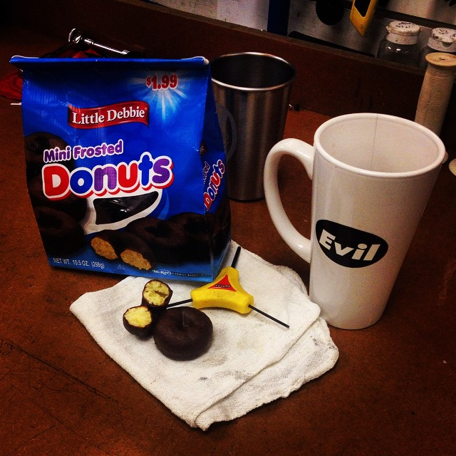 """... little chocolate donuts have been on my training table since I was a kid."" #coffeeanddonuts #winterweight #fatass #cantstopwontstop"