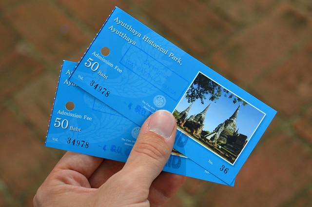 Tickets para entrar al recinto de Ayutthaya