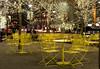 Park benches at night