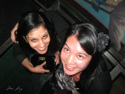 Leena and Mei on the glass floor in the CN Tower.