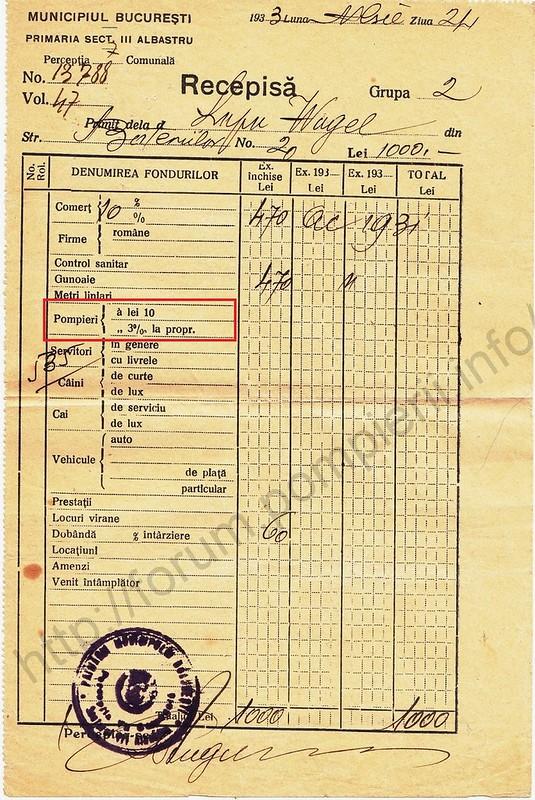 Recipisa pentru plata sumelor cuvenite statului. 19 noiembrie 1933