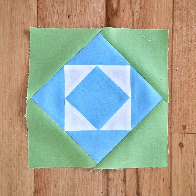 "Block 25. Another 6"" but not very exciting. Still, another one finished! #modabuildingblocks #modernbuildingblocks #patchwork #quilt"