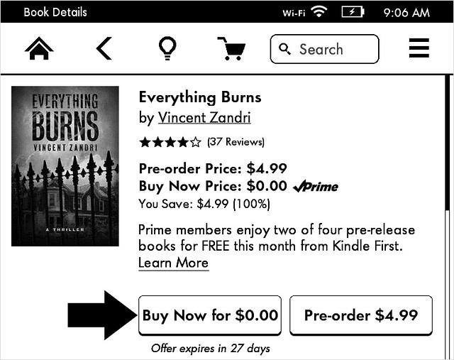 Two of four prerelease Kindle books - book 1 details
