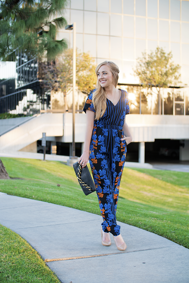 ASOS Jumpsuit in Mirrored Print with Shoulder Pads