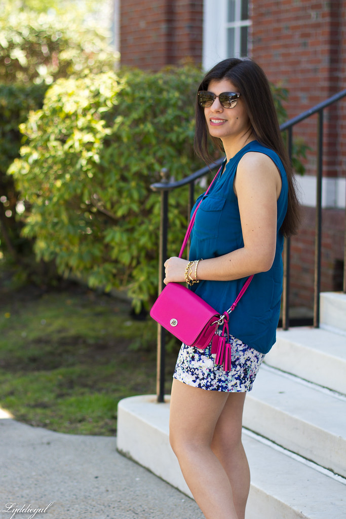 floral print shorts, blue top, pink coach bag-3.jpg