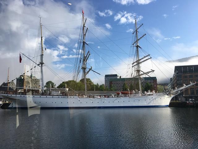 A massive old sail boat.