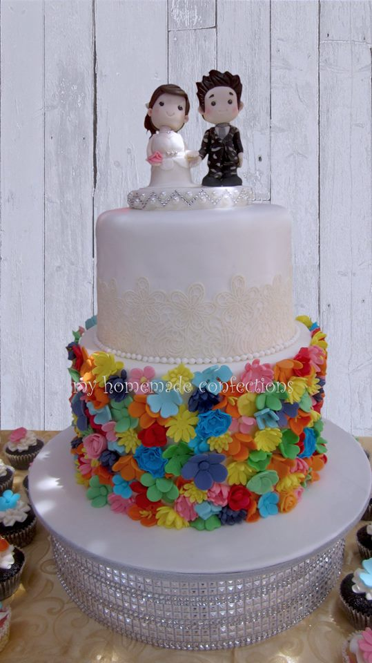 Colorful Floral Wedding Cake with Soldier Groom and Cute Bride Topper by Rhea-Larry Zurita