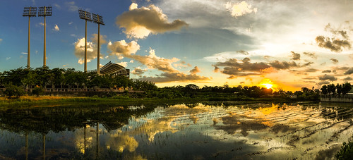park sunset sky panorama sun reflection water sunshine clouds reflections farm taiwan panoramic kaohsiung 台灣 tw iphone 澄清湖 倒影 棒球場 反射 高雄市 kaohsiungcity 澄清湖棒球場 iphoneography