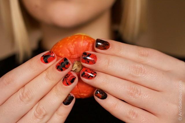 09 Morgan Taylor Halloween Collection 2014   Orange Crush swatches splatter nails