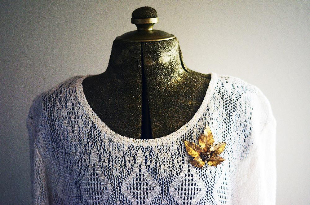 Vintage Sterling Silver Leaf Brooch Flora Danica