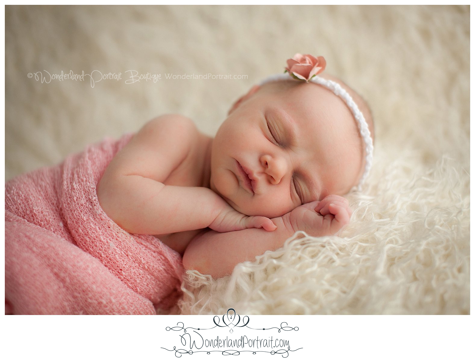 Close up Pose Head band Pink  Newborn Photos Bucks County PA | WonderlandPortrait.com