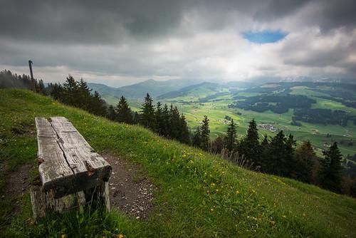 sun weather clouds bench landscape schweiz switzerland hiking wolken bank spot landschaft wandern regen wetter appenzell sonnen sitzbank schein höhe hundwil hundwiler