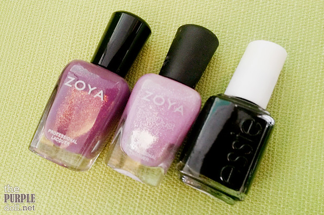 Zoya (Tru and Stevie) and Essie (Licorice) nail polishes
