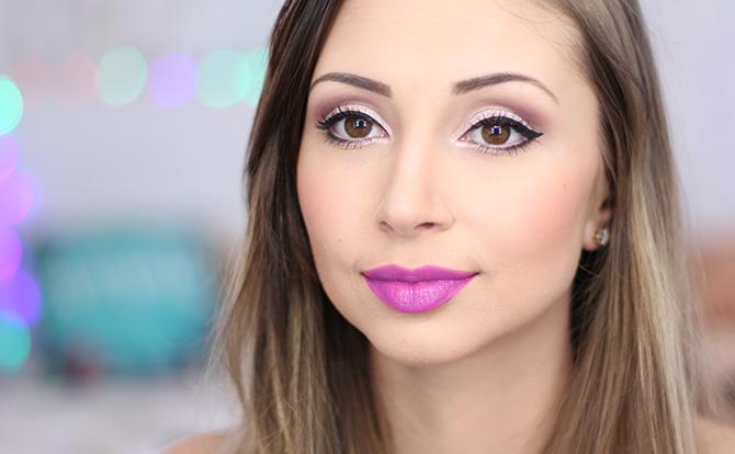 01-maquiagem fácil para festa no fim do dia sempre glamour batom lilás luminoso avon