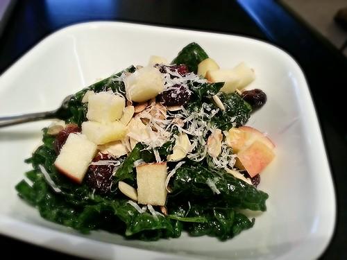kale salad - apple, cranberry, pumpkin seed, sunflower seed, almonds, parmesan w/lemon anchovy vinaigrette