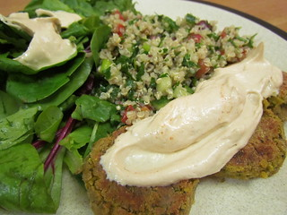 Panfried Falafel Patties; Quinoa Tabbouleh with Olives; Smoky Spiced Tahini Sauce