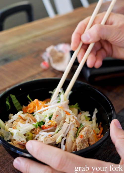 Chopsticks and grilled lemongrass chicken fillet salad at Great Aunty Three, Surry Hills