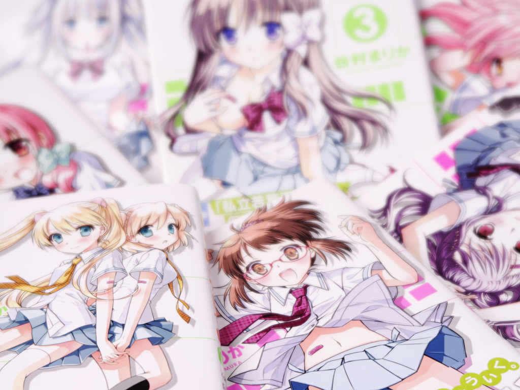 Hoken no Sensei Vol.1-7. I envy them in their romatic stories. I wish I were not a center of a harem but a cute girl.