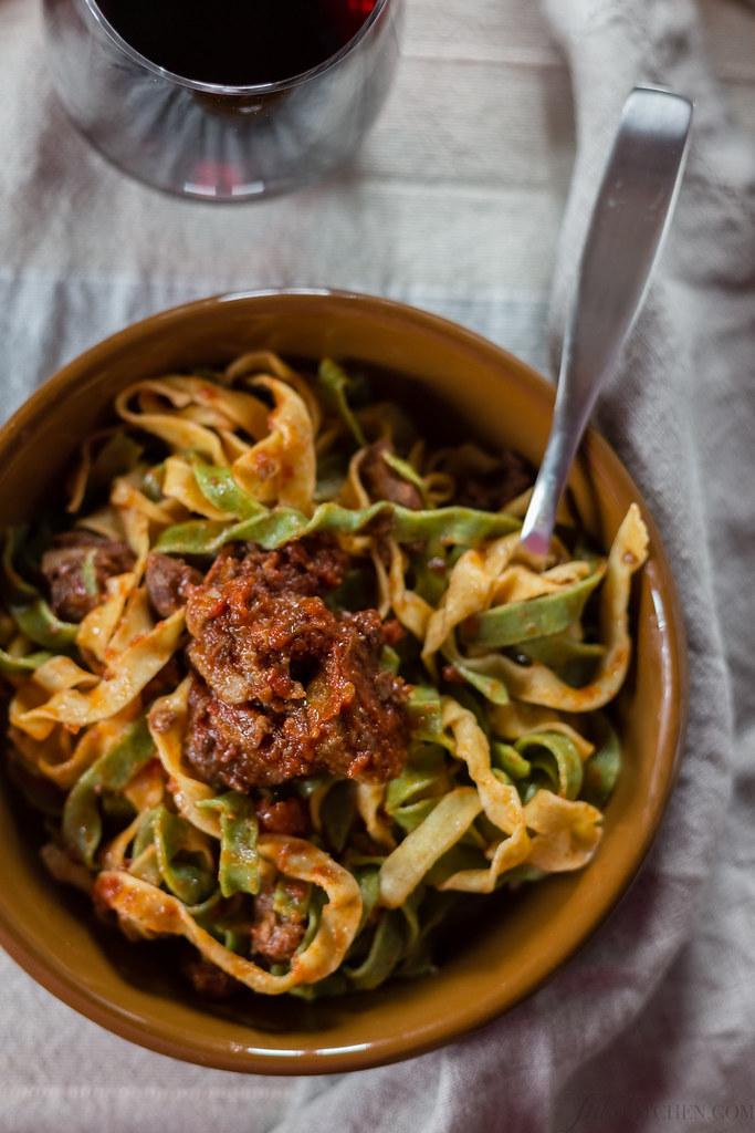 tagliatelle paglia e fieno with Cinta senese meat sauce