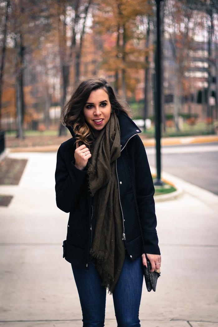 black winter jacket. green scarf. denim. knee high boots. loeffler randall calf hair bag. fall outfit. va darling. 5
