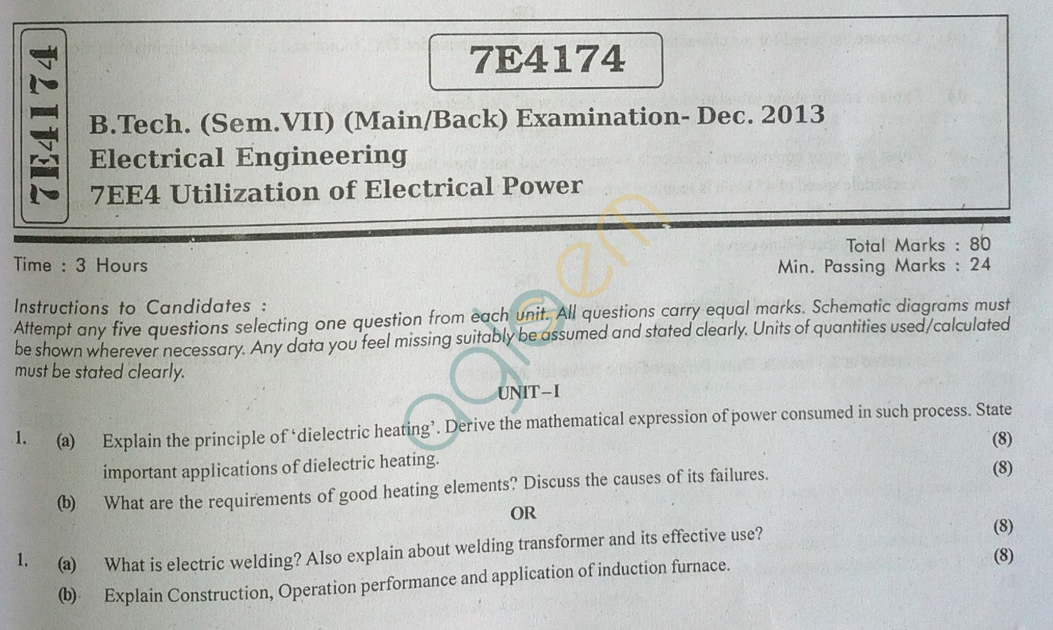RTU: Question Papers 2013 - 7 Semester - EE - 7E4174