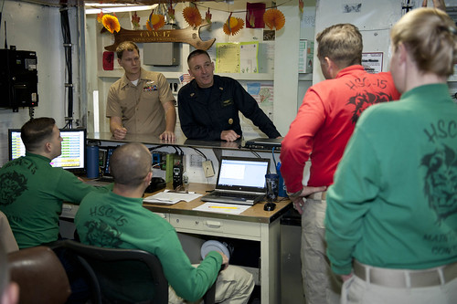 ARABIAN GULF (NNS) -- Master Chief Petty Officer of the Navy (MCPON) Mike Stevens and Chief of Naval Operations (CNO) Adm. Jonathan Greenert visited Sailors of Carrier Strike Group (CSG) 1.