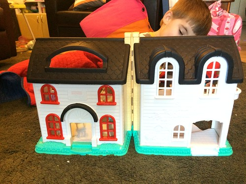 The final dollhouse is a success! Http://EvinOK.com for details on this thrift store find's transformation