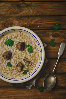 Pearl-barley meat bolls soup