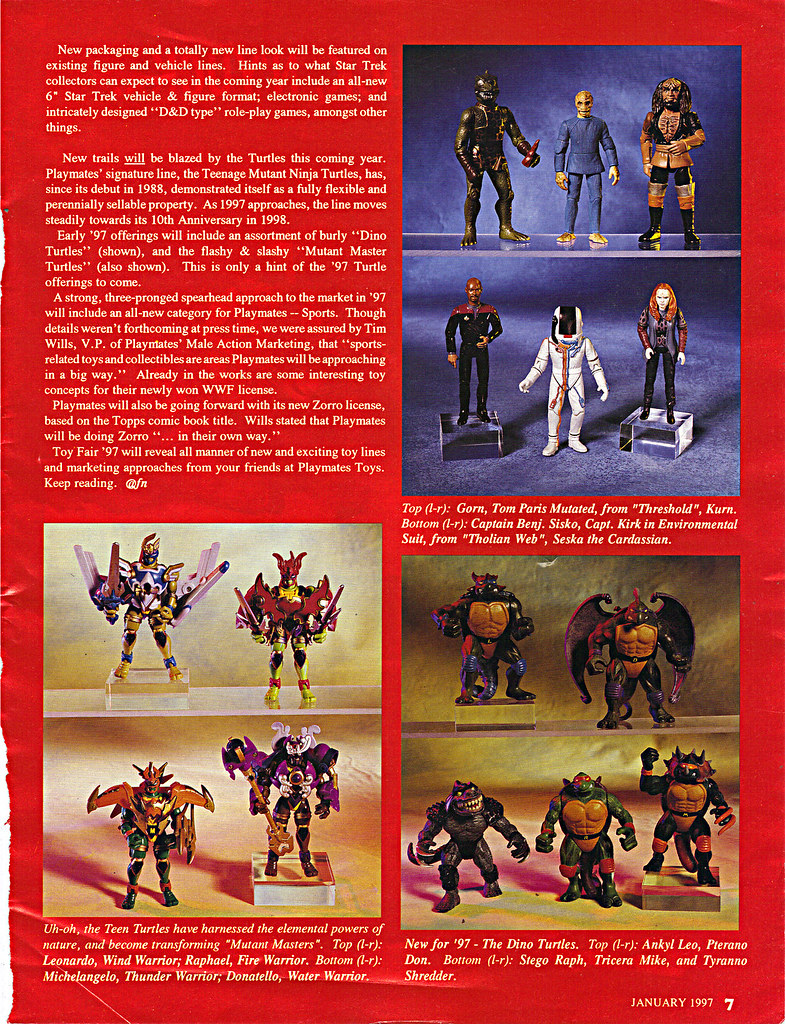 """ACTION FIGURE NEWS & TOY REVIEW : """"PLAYMATES TREKS ON INTO 1997"""" pg.7 (( 1997 )) by tOkKa"""