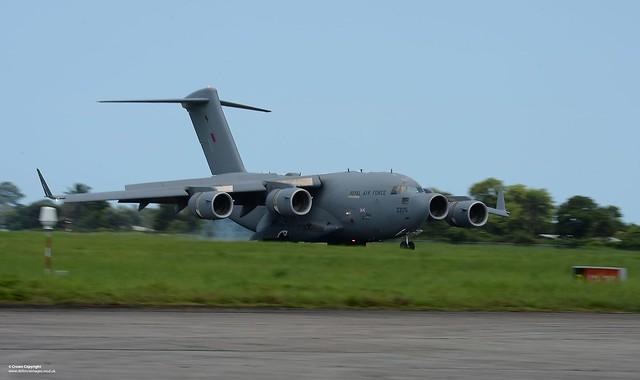RAF C17 Arriving in Sierra Leone on Humanitarian Mission