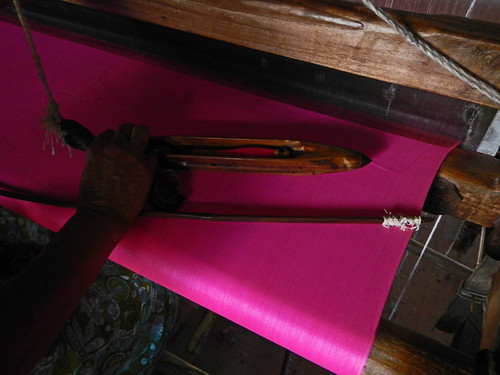 The Weaving Village on Inle Lake, Myanmar: A Loom with Pink Silk