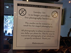 No free photography backdrops sign, labyrinth, The Last Bookstore, Downtown LA, Los Angeles, California, USA