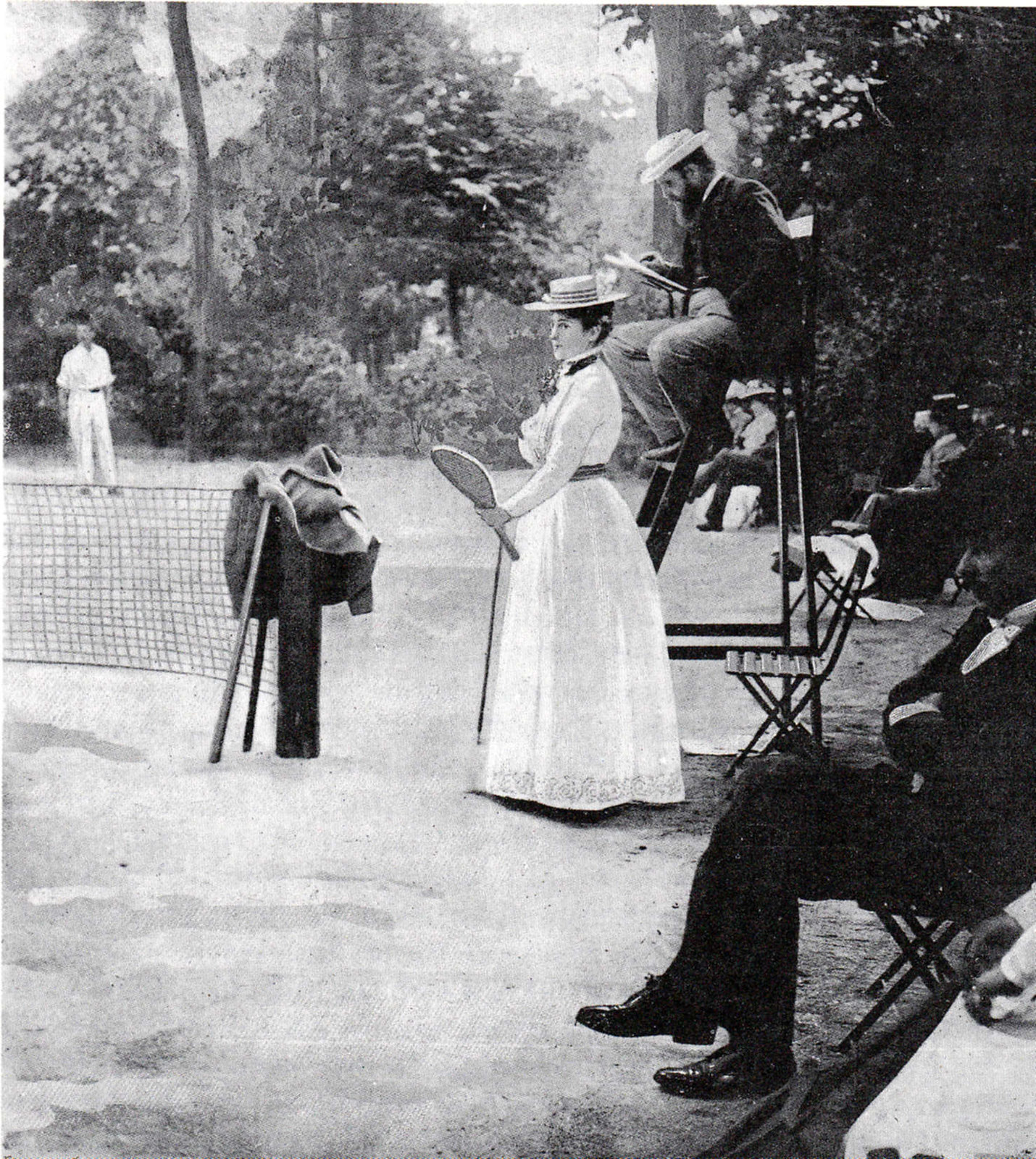 A. Gillou, French contestant, at the 1900 Olympic games Tennis tournament, at the Tennis court Cercles des Sports de l'Ile de Puteaux, Paris. Cover page of magazine La vie au grand air, No 97 from July 22nd, 1900.