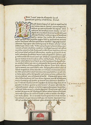 Illuminated initial and coat of arms in Leo I, Pont. Max.: Sermones