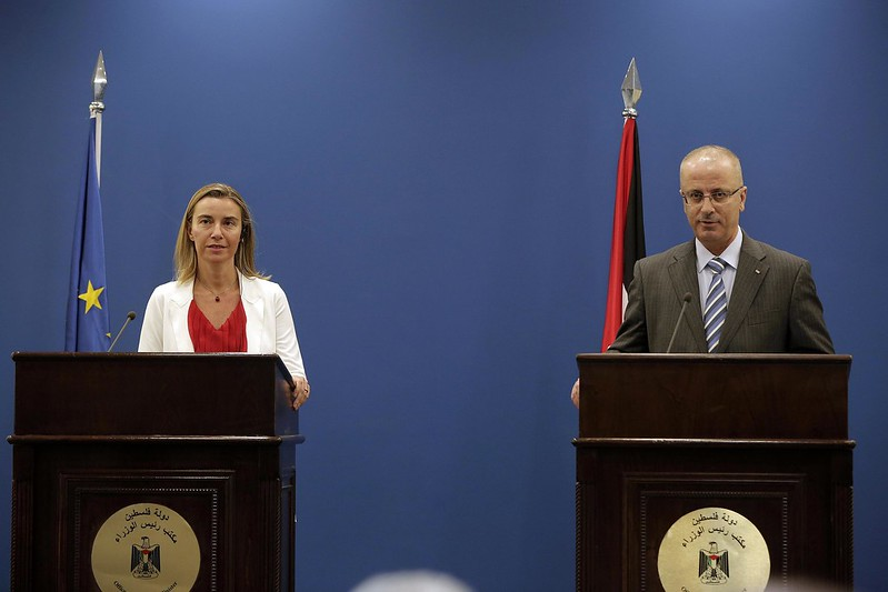 Federica Mogherini, High Representative of the Union for Foreign Affairs and Security Policy and Vice-President of the EC gives a press conference with Dr. Rami Hamdallah, Prime Minister of Palestine on November 8, 2014 at the Office of President Abbas in Ramallah.
