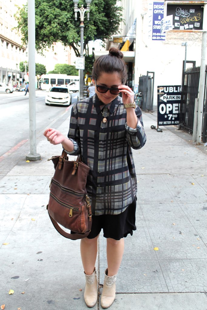 Thanksgiving outfit idea: plaid blouse layered over black dress