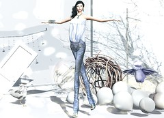 RAPTURE - Distressed leather Pants & Silk top