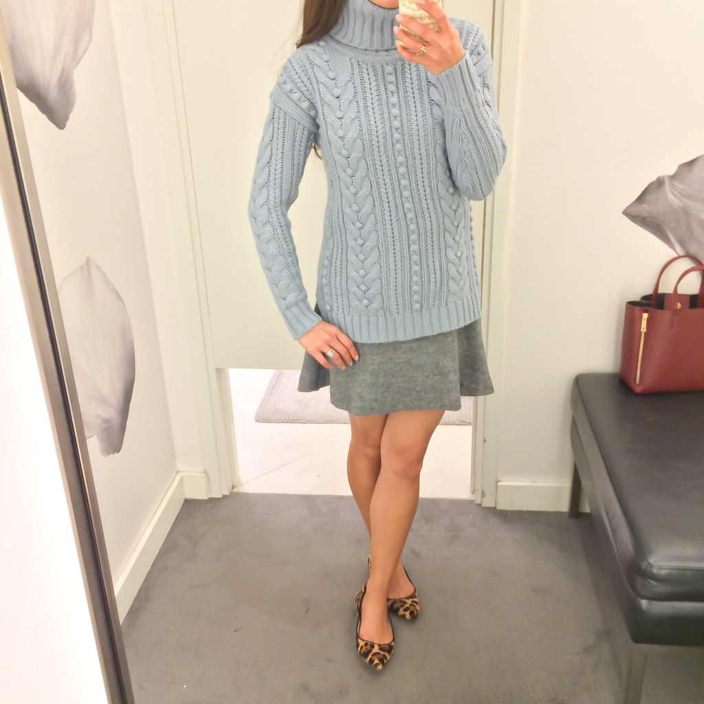 Ann Taylor Cable Knit Turtleneck Petite Sweater