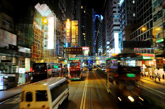 Causeway Bay streets from tram