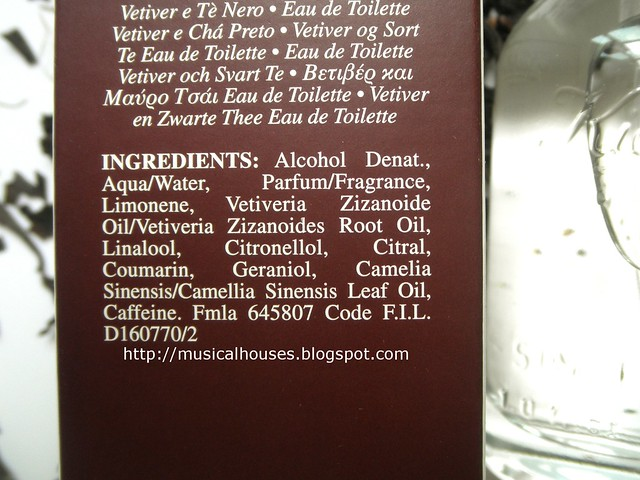 Kiehls Vetiver and Black Tea Perfume Ingredients