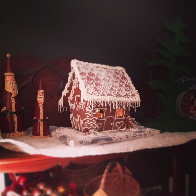 My teens made this darling gingerbread house from scratch. #yule #yuletide