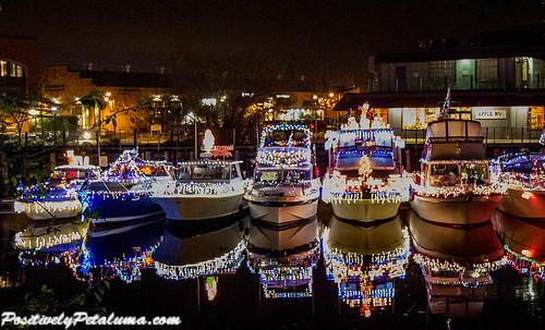 reflection river boats petaluma 2014 holidaylightedboatparade boatswithchristmaslights