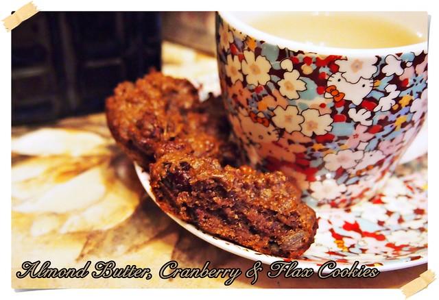 Almond Butter, Cranberry & Flax Cookies (Vegan & Gluten Free)