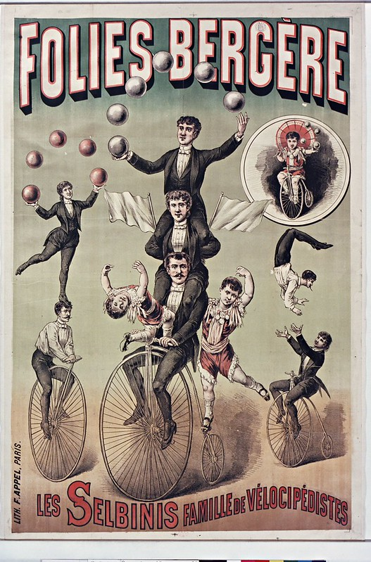 19th cent. french music-hall poster - family of bicycle trick riders