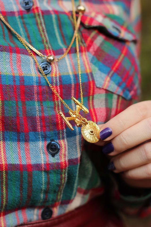 Flannel Shirt and a Star Trek Enterprise Necklace