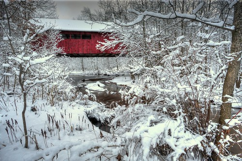 rothschild wisconsin winter snow stream digital 1740l creek brush photomatix hdr tonemapping wi coveredbridge cedarcreek marathoncounty marathoncountywisconsin centralwisconsin usa america geotagged canon6d rothschildwisconsin woodenbridge northamerica woodbridge wisconsinwinter