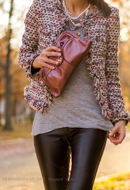 tweed jacket, mixed metal necklace, black faux leather pants, pink metallic clutch