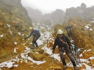 Descending Iliniza Norte in a Hail Storm